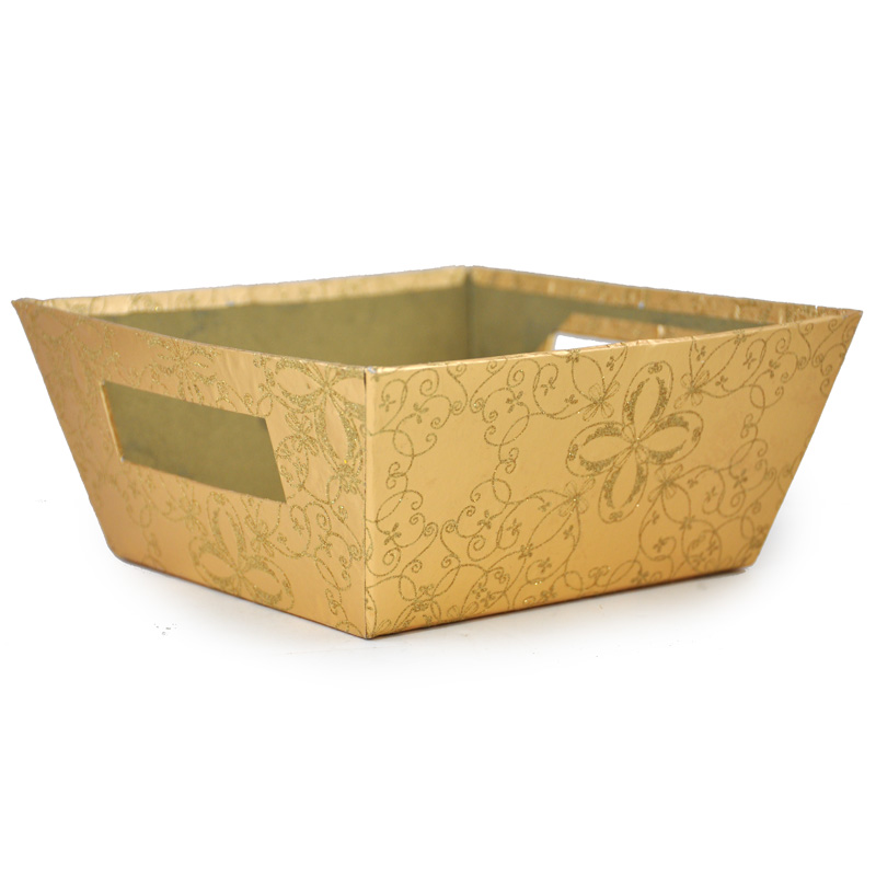 Gift Utility Square Tray - Holiday 7in - Glittery Gold