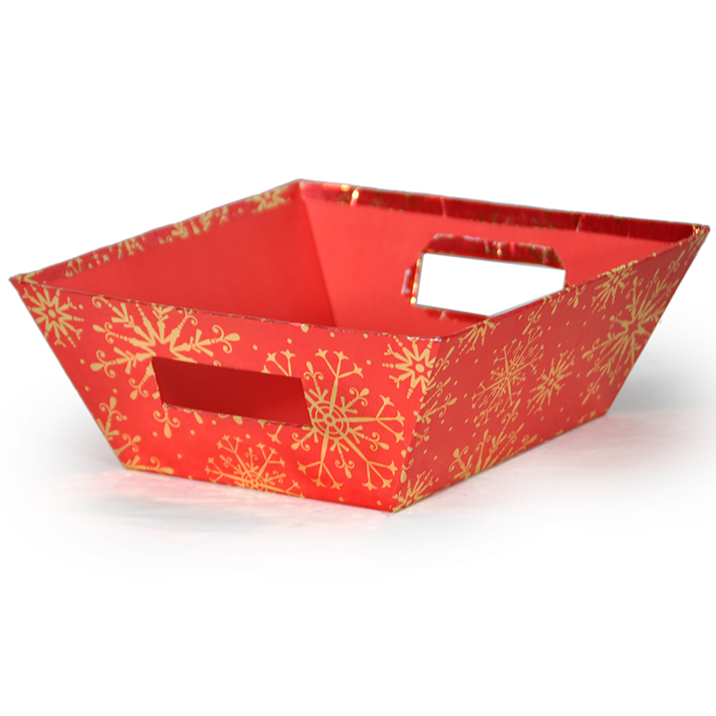 Gift Utility Sq Lg Holiday II 9in Sparkling Snowflakes Gold Red