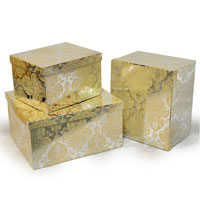 Rect Large Gift Box with Lid Set of Three - Designer II