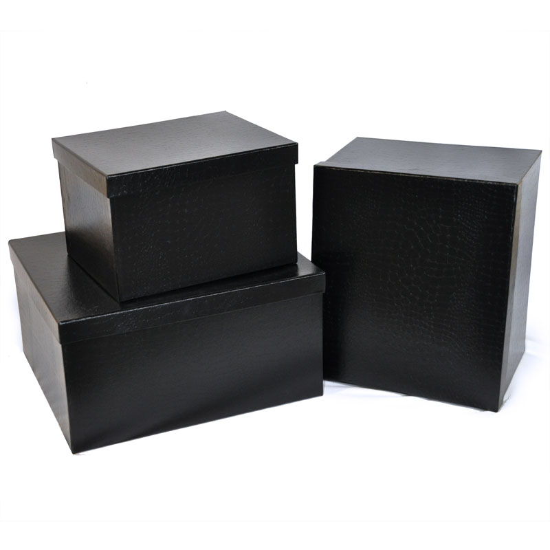 rect large gift box with lid set of three designer ii the lucky clover trading co. Black Bedroom Furniture Sets. Home Design Ideas