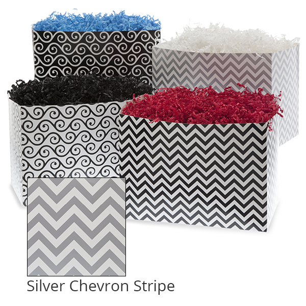 Small Designer Basket Box 7in- Silver Chevron Stripe