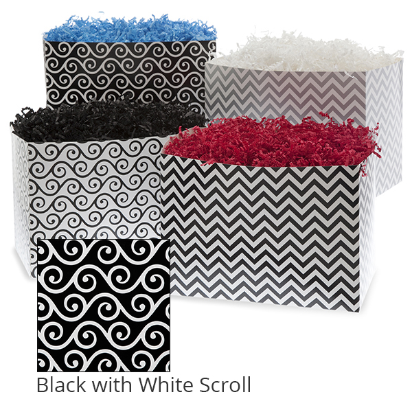 Small Designer Basket Box 7in- Black with White Scroll