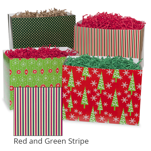 Small Holiday Basket Box 7in- Red and Green Stripe