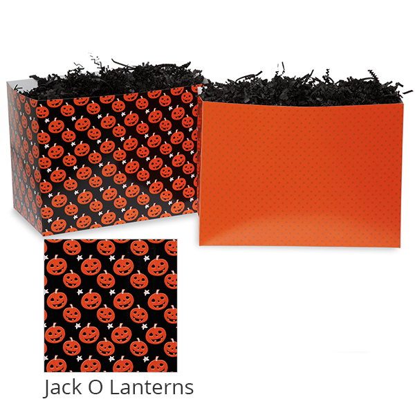 Small Halloween Basket Box 7in- Jack O Lanterns