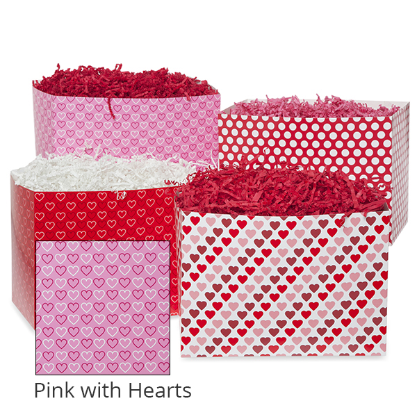 Small Valentine Basket Box 7in- Pink with Hearts