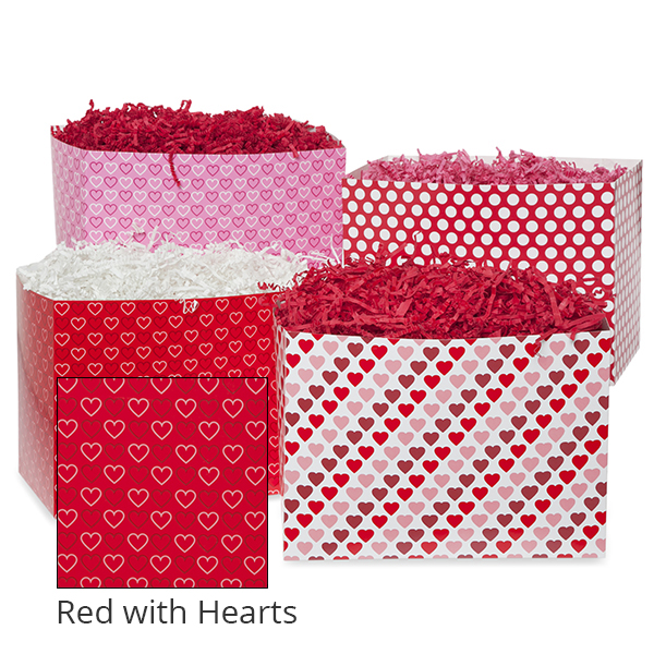 Small Valentine Basket Box 7in- Red with Hearts