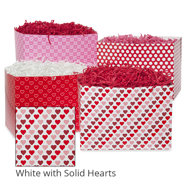 Small Valentine Basket Box 7in- White with Solid Hearts