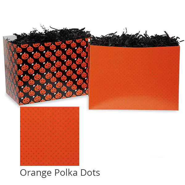 Small Halloween Basket Box 7in- Orange Polka Dots