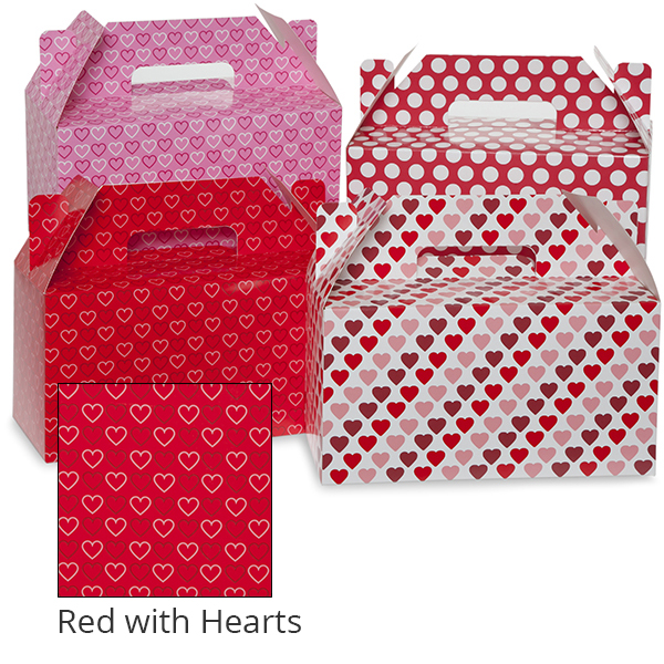 Medium Valentine Gable Box 10in- Red with Hearts