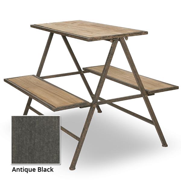 Three Tier Wood Metal Display Table