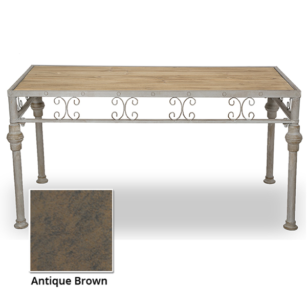 Rect Wood Metal Display Table Scroll Design