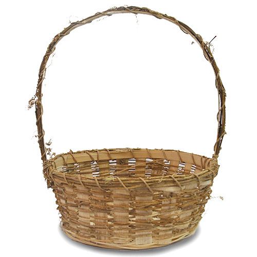 Vine Bamboo Round Handle Basket - Medium 10in