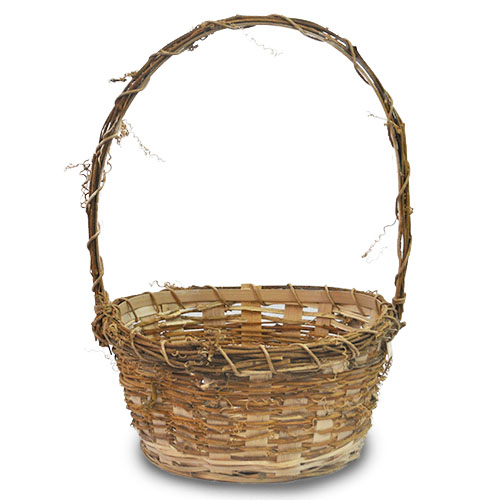 Vine Bamboo Round Handle Basket - Small 8in
