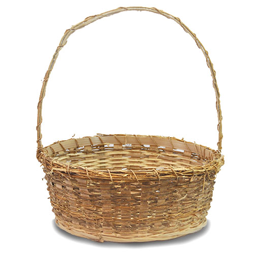 Vine Bamboo Round Handle Basket - Large 12in