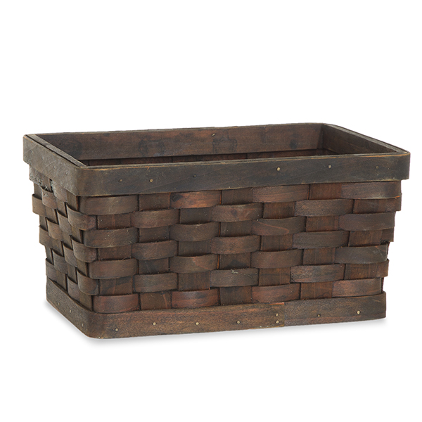 Rect Woodchip Weave Utility Basket Small - Dark Brown 10in