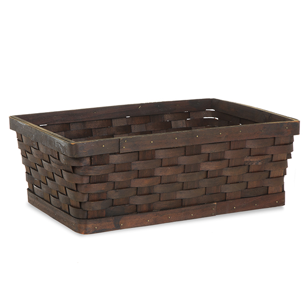 Rect Woodchip Weave Utility Basket Med - Dark Brown 13in