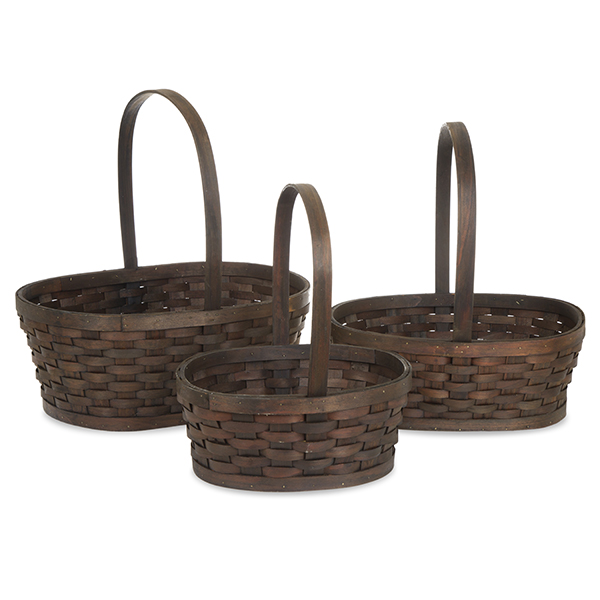Oblong Woodchip Weave Fixed Handle Basket - Set of Three