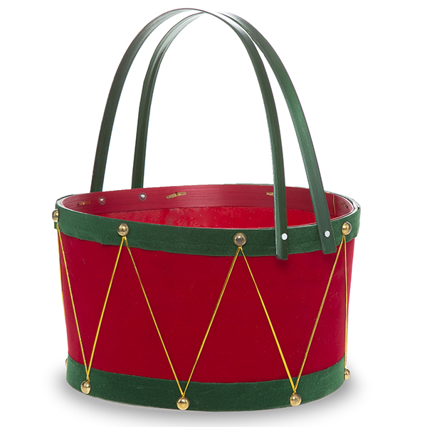 Holiday Drum Red with Green Swing Handle Basket Large 10in