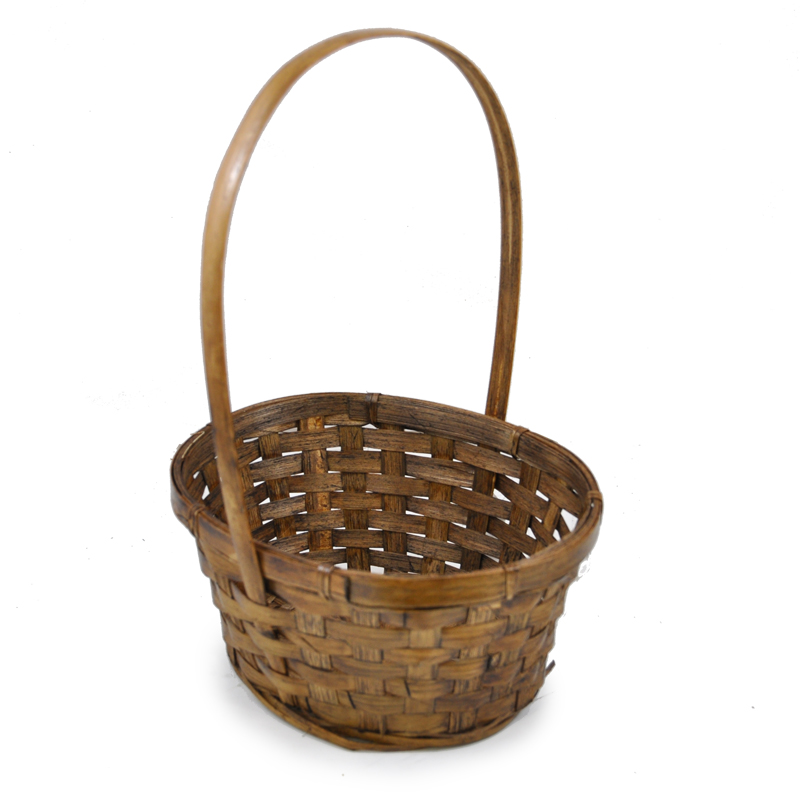 Stained Bamboo Oval Handle Basket 7in