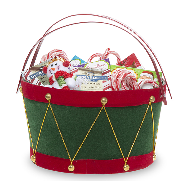 Holiday Drum Green with Red Swing Handle Basket - Med 8in