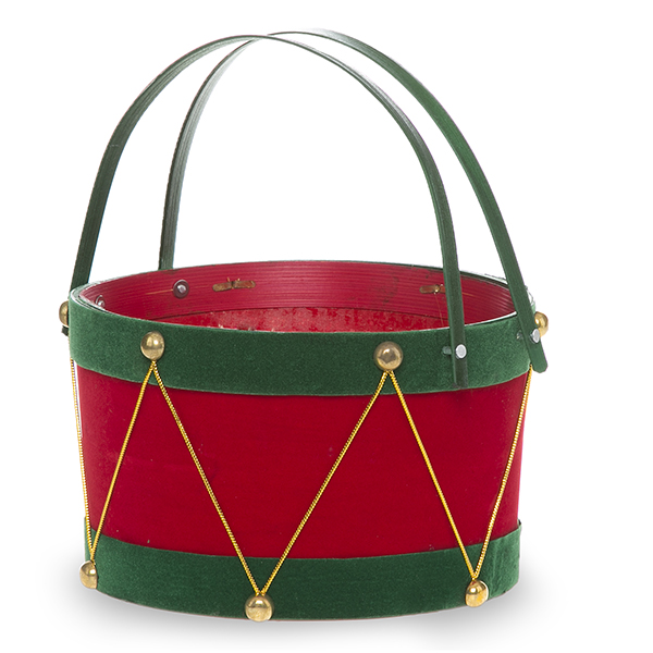 Holiday Drum Red with Green Swing Handle Basket - Sm 7in