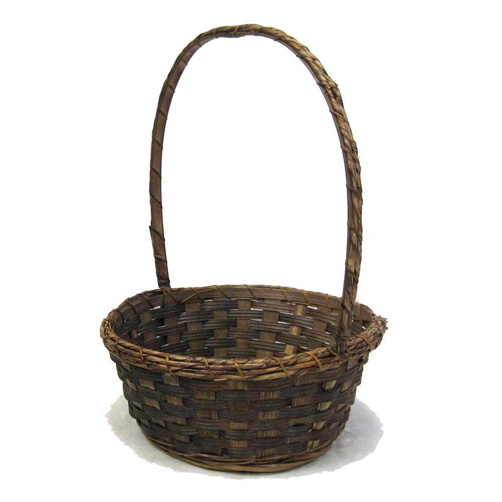 Stained Bamboo Dish Garden Basket 10in