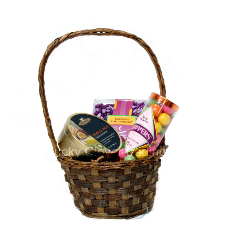 Stained Bamboo 6 Inch Round With Handle Basket The Lucky