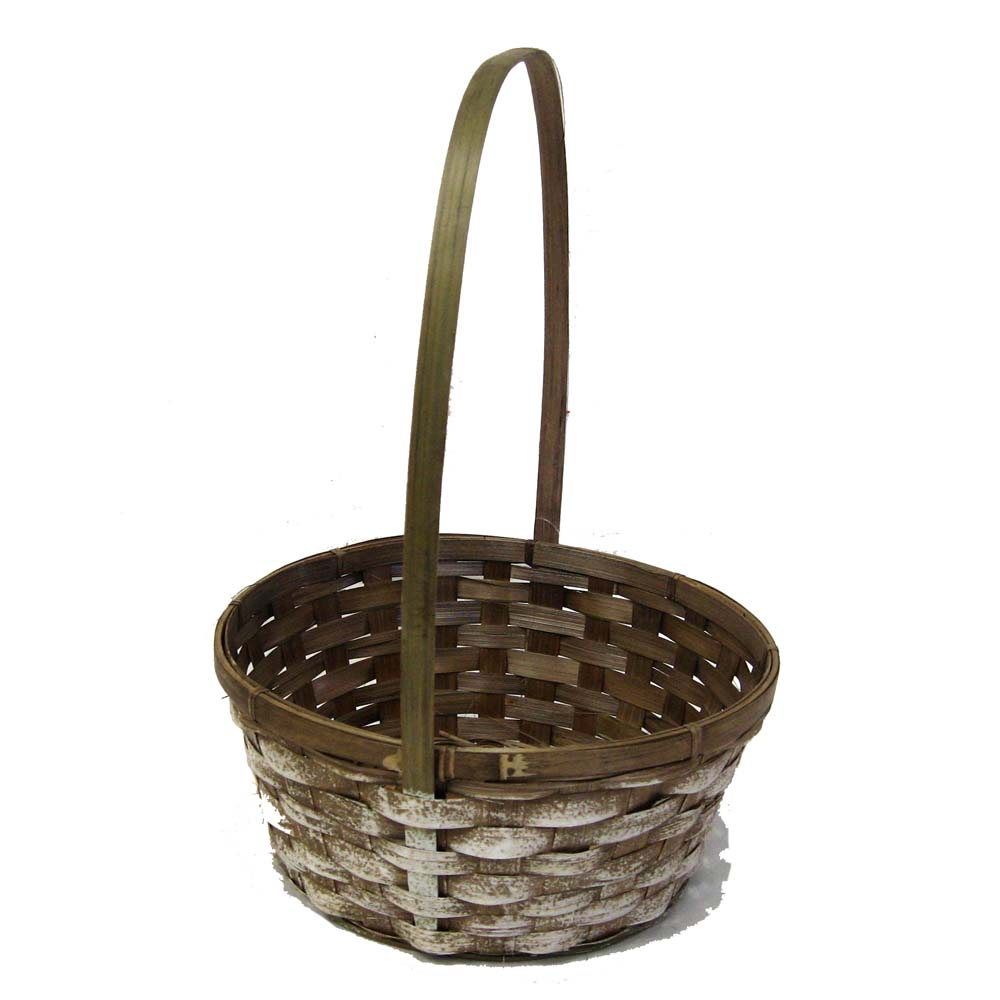 Round Bamboo White Stain Handle Basket 10in