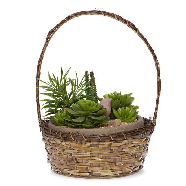 Round Bamboo Vine Handle Basket - Brown 10in