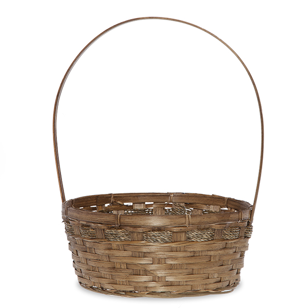 Round Bamboo Handle Basket - Brown 10in