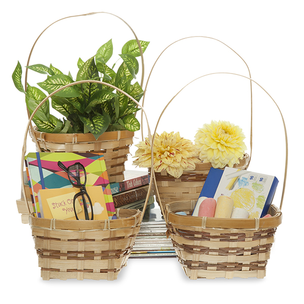Square Bamboo 6in Handle Baskets - Assorted