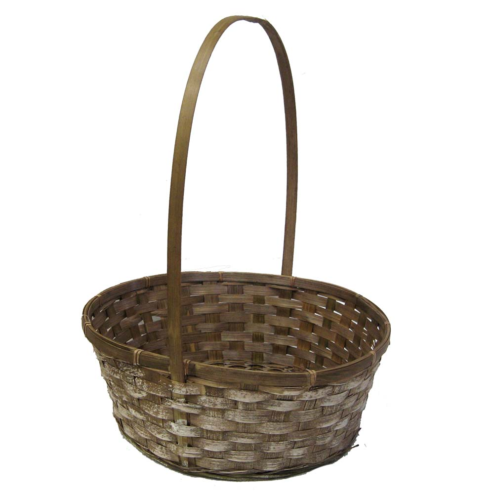 Round Bamboo White Stain Handle Basket 12in