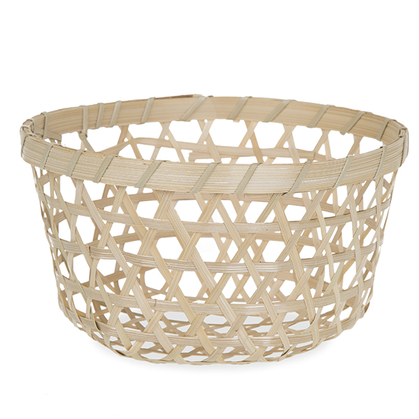Round Open Weave Bamboo Basket Natural 7in