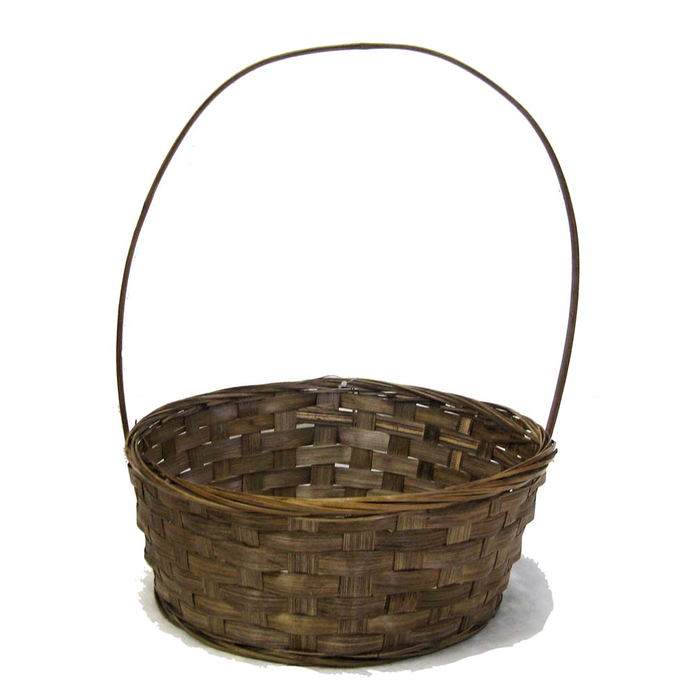 Round Bamboo Brown Stain Handle Basket 12in