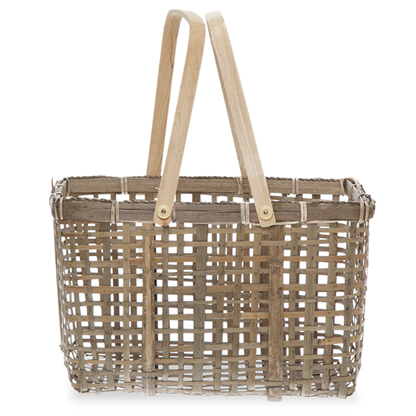 Natural Bamboo Basket with Wood Swing Handle 12in