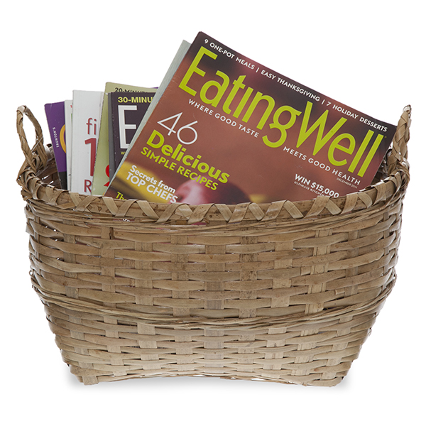 Oblong Bamboo Utility Basket with Ear Handles - Medium 13in