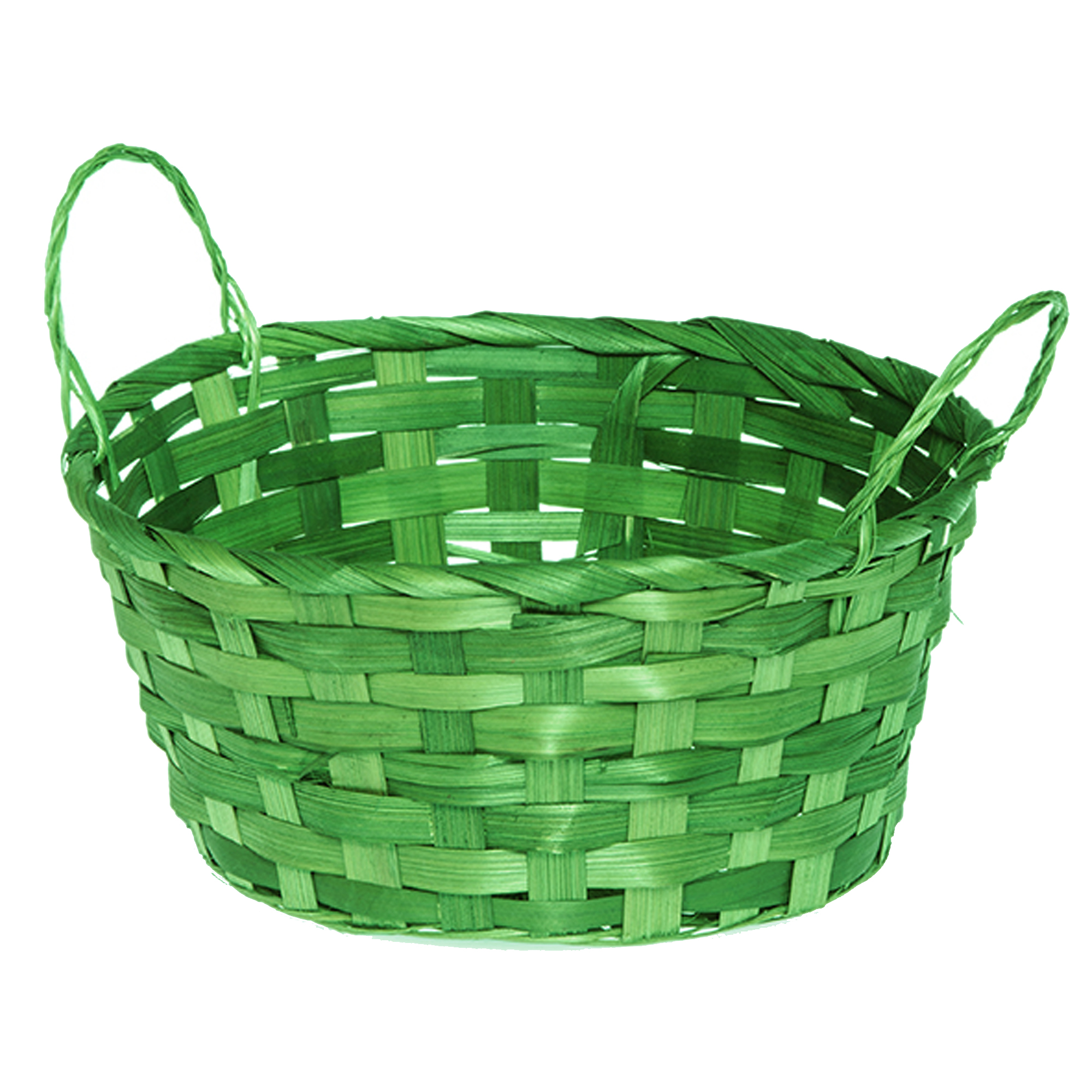 Round Bamboo Utility Basket with Ear Handles  - Green 8in