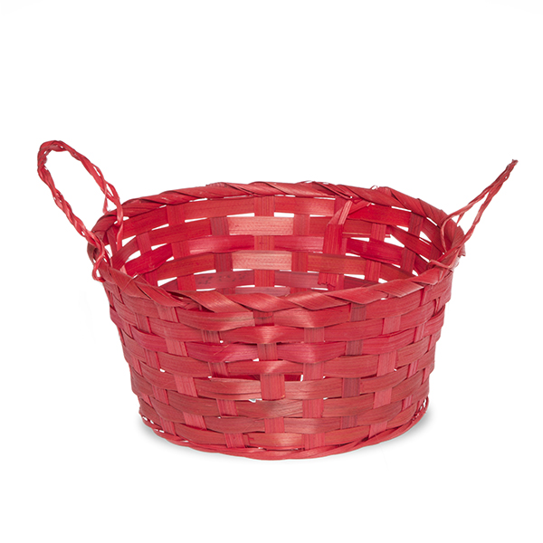 Round Bamboo Utility Basket with Ear Handles 8in