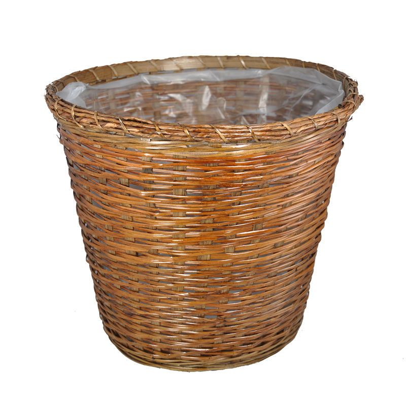 Round Stained Bamboo Planter Basket with Rope Rim 13in
