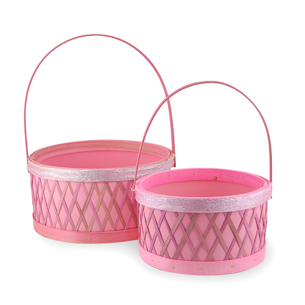 Round Woodchip Lattice Glitter Trim Handle Basket - Set of Two