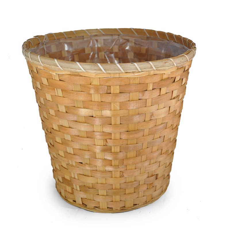 Bamboo Woodchip Weave Planter Basket 11in