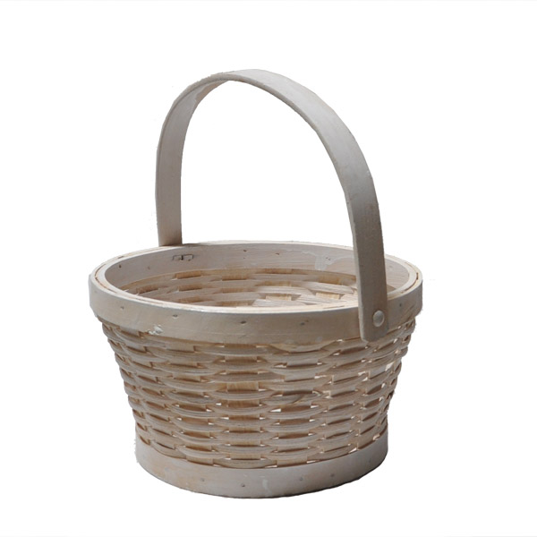 White Woodchip Swing Handle Basket - Small 8in