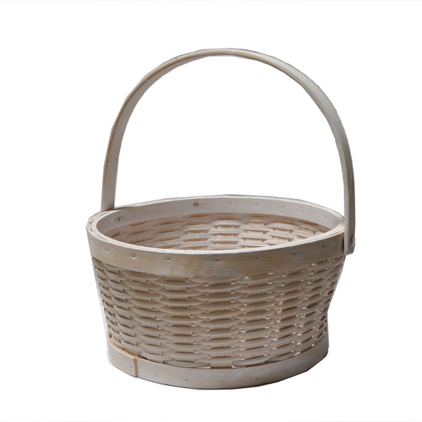 White Woodchip Swing Handle Basket - Medium 10in