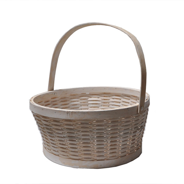 White Woodchip Swing Handle Basket - Large 12in