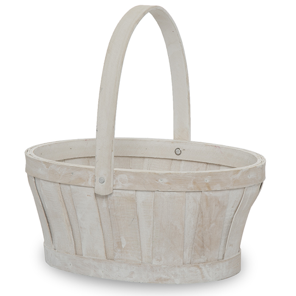 Oval Woodchip Handle Basket - White Wash 9in
