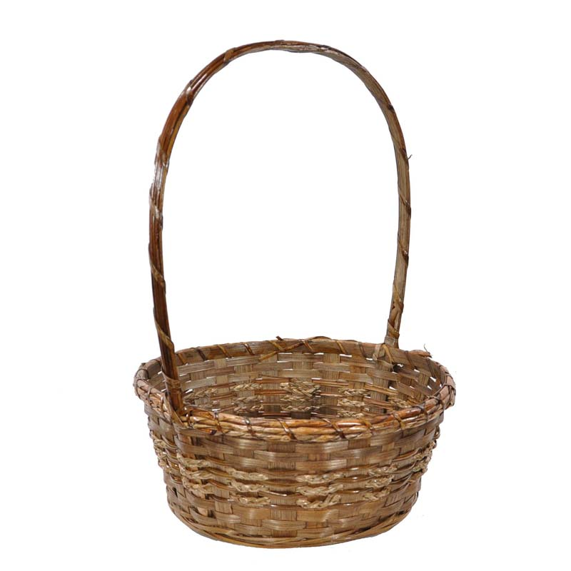 Brown Bamboo Rope Plaid Handle Basket - Small 9in