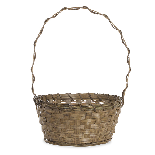 Brown Bamboo Braided Handle Basket - Small 8in