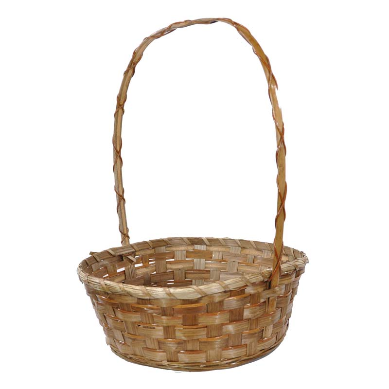 Brown Bamboo Braided Handle Basket - Large 12in