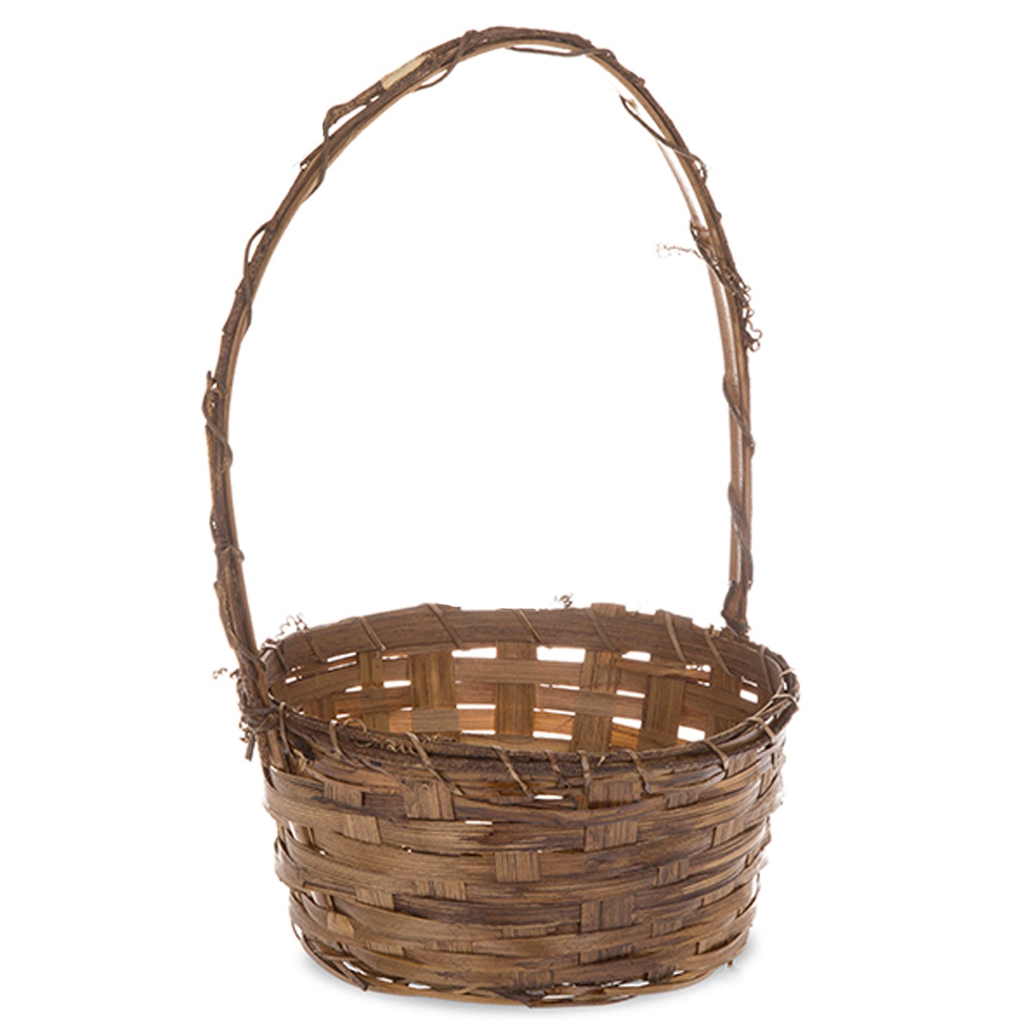 Bamboo Bark Rim With Handle Basket Small The Lucky