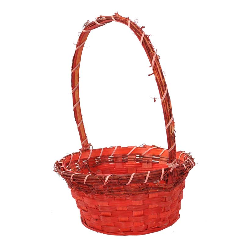 Red Round Bamboo Vine Handle Basket - Small 8in
